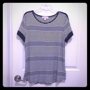 Michael Kors Navy Blue & White Striped Shirt SZ L